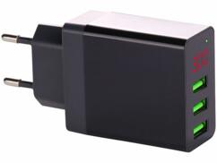 Chargeur secteur USB intelligent avec 3 ports USB - Noir