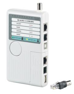 Testeur de câbles 4 en 1 pour RJ-45, RJ-11, USB A+B, BNC