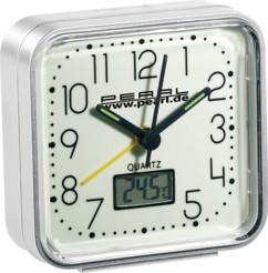 Réveil à quartz phosphorescent avec thermomètre digital