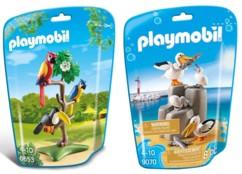 2 perroquets, 1 toucan, 2 pélicans et 2 bébés pélicans