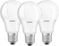 Trois ampoules LED 9,5 W blanc chaud, de la marque OSRAM.