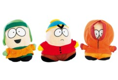 Lot de 3 peluches South Park : Kyle, Cartman et Kenny.