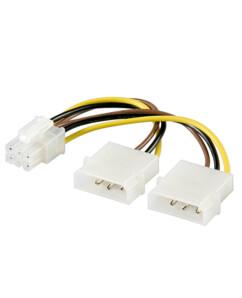 Câble d'alimentation PCI express 6 broches vers 2 prises Molex