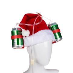 Casque à boisson style bonnet du Père Noël.