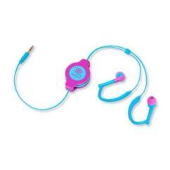 Écouteurs intra-auriculaires rétractables Sport - Bleu/rose