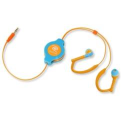 Écouteurs intra-auriculaires rétractables Sport - Bleu/orange