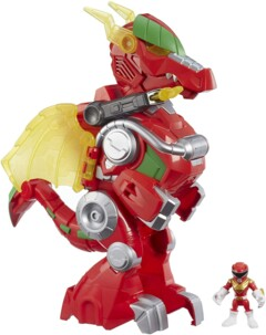 Figurine Power Rangers rouge avec dragon Thunderzord de 35 cm.