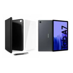 Lot comprenant une Samsung Galaxy Tab A7 wifi (2020) avec un étui, une protection en verre trempé et un stylet tactile.