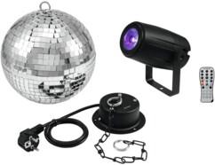 Pack Eurolite avec boule à facette et spot LED RVBB.