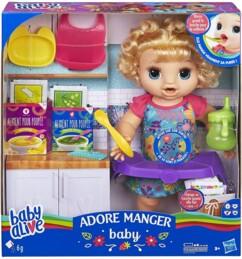 """Poupée """"Baby Alive Adore manger"""" avec accessoires et fausse nourriture en poudre."""