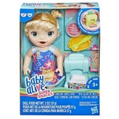 Packaging de la poupée Baby Alive Bébé régal de pâtes de Hasbro.