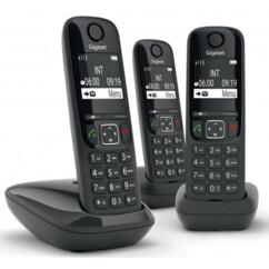 Téléphone fixe AS690 Trio - 3 combinés - Sans répondeur - Noir