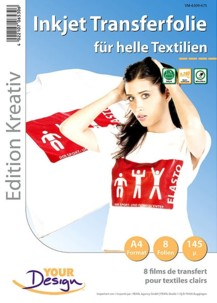 Papier transfert jet d'encre textiles clairs - 8 feuilles
