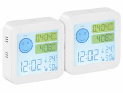 Lot de 2 appareils de mesure COVT/CO² avec horloge et thermomètre.