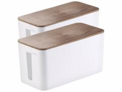 Deux petites boîtes de rangement aspect bois pour multiprise.