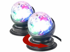 Lot de 2 boules disco rotatives avec effets lumineux RVB.