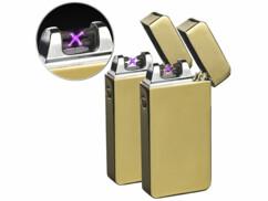 Lot de 2 briquets électroniques USB dorés à double arc électrique.