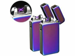 Lot de 2 briquets électroniques USB mauve irisé à double arc électrique.