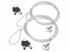 Deux câbles antivol en acier pour ordinateur avec 4 clés fournies.