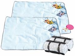Lot de 2 couvertures de pique-nique avec pois blancs de 175 x 200 cm.
