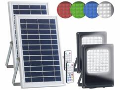 Lot de 2 projecteurs LED extérieurs RVBB 30 W avec panneaux solaires et télécommandes.