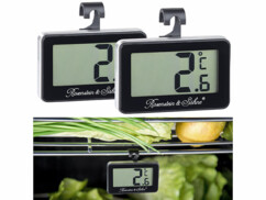 Lot de 2 thermomètres noirs pour réfrigérateur et congélateur.