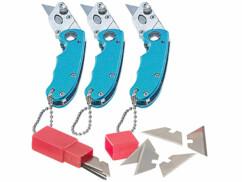 Lot de 3 mini cutters porte-clés avec lames de rechange.
