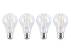 Quatre ampoules LED à filament avec une puissance de 6 watts pour lampe avec culot E27.