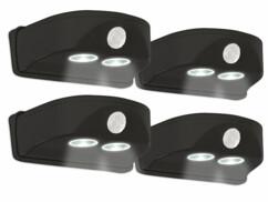 Lot de 4 lampes de porte sans fil noires avec détecteur de mouvement.
