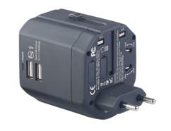 Adaptateur de voyage universel avec 2 ports USB 2,5 A / 12,5 W