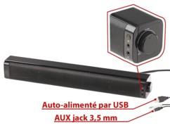 Barre de son stéréo USB 10 W filaire et Bluetooth pour PC