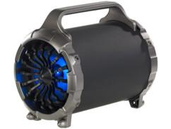 enceinte sans fil 2.1 avec subwoofer 50w design turbine reacteur d'avion avec led bleu auvisio msx-410