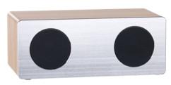 mini enceinte 2 haut parleurs aspect chrome et bois et bluetooth 4.1 longue autonomie MSS-85 auvisio