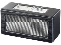 enceinte sans fil bluetooth design retro bois noir amplificateur années 50 reglages basses aigus auvisio