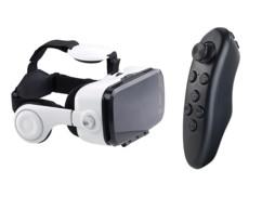 lunettes de realité virtuelle pour smartphone avec ecouteurs integres vrb70 auvisio avec télécommande manette de jeu bluetooth