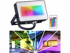 Projecteur intérieur et extérieur LED couleur et blanc télécommandé avec exemple de projection sur maison