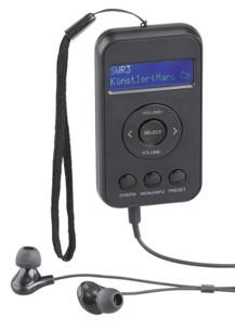 mini radio de poche fm et numérique dab+ avec dragonne et écouteurs intra auvisio
