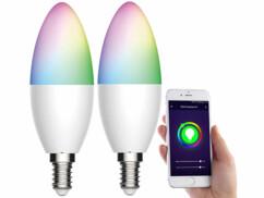2 ampoules LED connectées E14/ 5,5 W / RVB / CCT LAV-155.rgbw