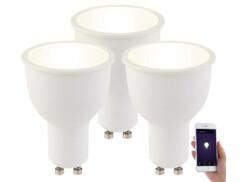 3 ampoules LED connectées GU10 4,5 W LAV-45.m - Blanc chaud