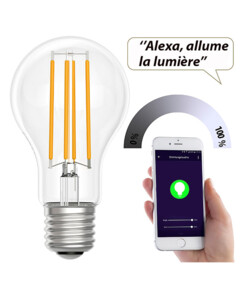 Ampoule LED connectée LAV-150.w 7 W compatible commandes vocales- Blanc chaud