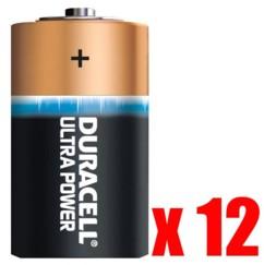 Mega pack de 12 piles type D Ultra Power Duracell
