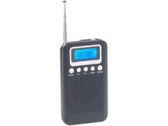 mini radio fm de poche avec haut parleur et ecouteurs design retro avec écran digital