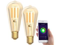 2 ampoules LED connectées E27/ ST64/ 5W/ 2200K LAV-125.w