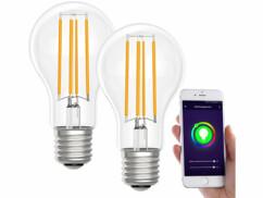 2 ampoules LED connectées LAV-150.w E27- A60- 7W- Blanc chaud