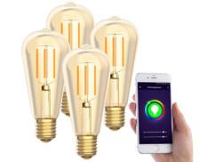4 ampoules LED connectées E27/ ST64/ 5W/ 2200K LAV-125.w