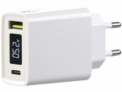 Chargeur secteur USB-A et USB-C 30 W avec indicateur sur écran LED - Blanc