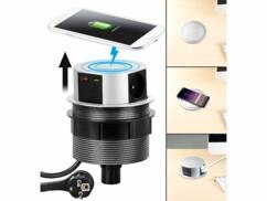 Multiprise de bureau encastrable et compatible Qi avec 3 prises 230 V