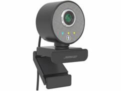 Webcam Full HD avec câble USB intégré et pince de fixation.