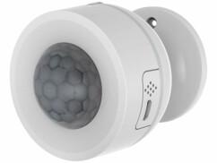 Détecteur de mouvements PIR connecté Luminea avec capteur de température et d'humidité.