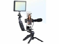 Kit de vlogging avec lampe LED, microphone, trépied et support pour smartphone